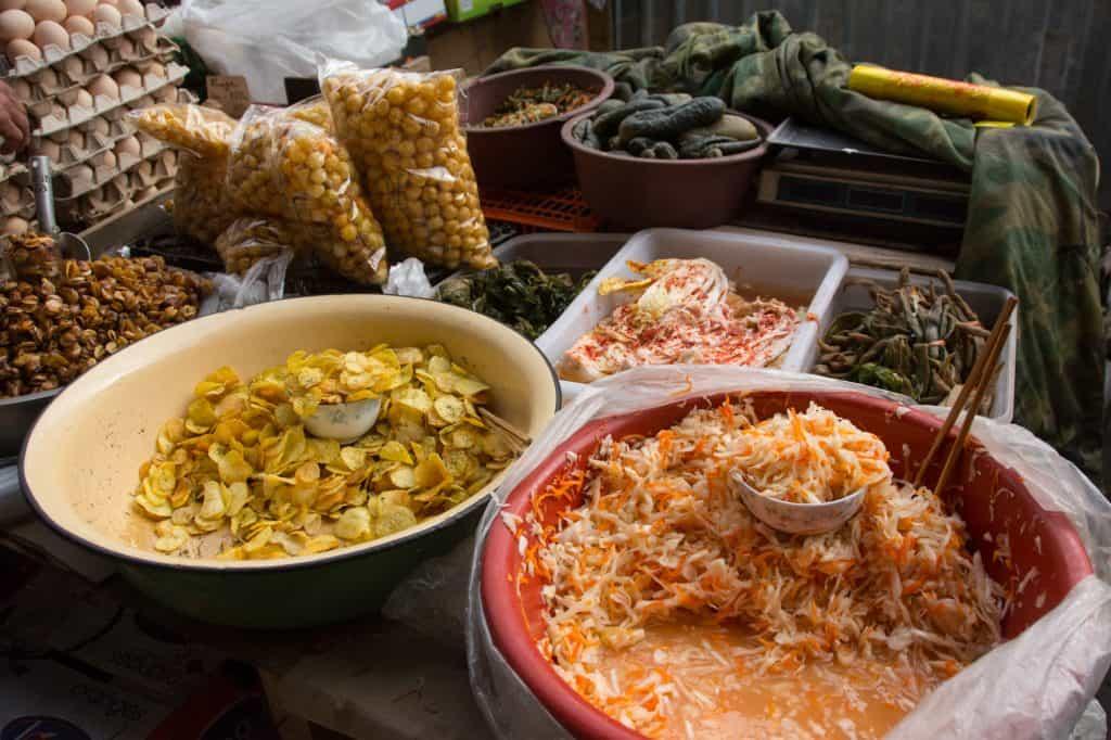 Karakol Vegetarian Food, Salads at the Market