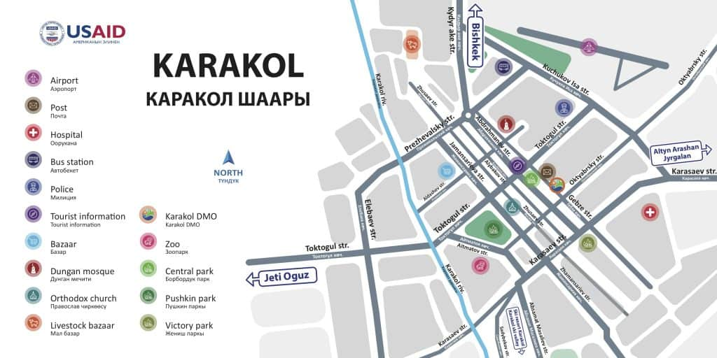 Map of Main Sites of Karakol